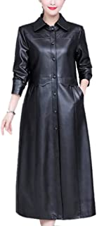 DISSA P1902 Women Faux Leather Long Overcoat Slim Coat Leather Jacket