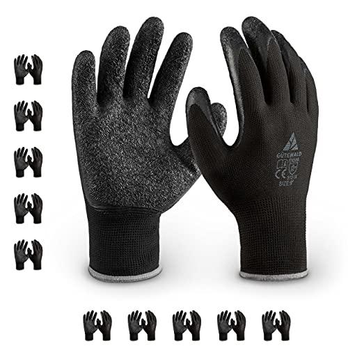 Gütewald® Arbeitshandschuhe 10 Paar schwarz Gr 9 - einzigartiger Grip durch gerillte Latexbeschichtung- atmungsaktiv bei Umzug Montage oder im Garten