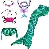 BRONG Maillot de Bain Queue de Sirene Fille 5 Pièces Mermaid Tail Bikini Enfante