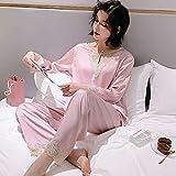 CFCYS Nachthemd Für Damen,2 Stück Nachthemd Nachthemd Nachtwäsche Set Für Frauen Sexy Glänzende Spitze Langarm Pyjama Frauen Schlafshirt Nachthemd Hemd Hemd Schlafkleid,Pink1,M.