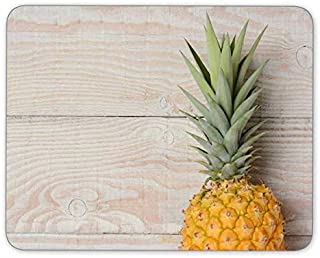 Old Wooden Board and Pineapple Rectangle Mousepad Gaming Mouse Pad Rubber Oblong Mouse Mat(9.5inchx7.9inch)