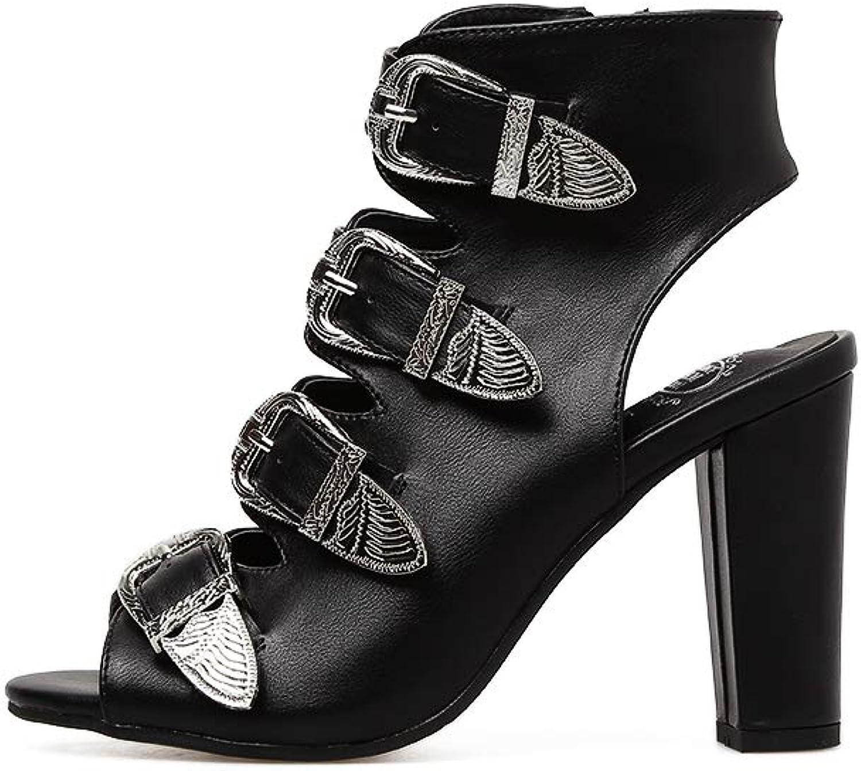Women's Sandals - Fashion high Heel Fish Mouth Belt Buckle with Versatile Women's shoes