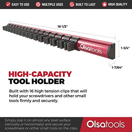 Magnetic Screwdriver Organizer | Premium Quality Tool Holder | Fits up to 16 Screwdrivers | Red | by Olsa Tools