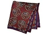 ターンブル&アッサー Turnbll&Asser ポケットチーフ シルクチーフ メンズ 紳士 Silk 英国製 大判 Purple/Paisley パープルペイズリー C096