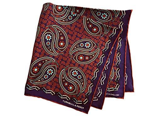 ターンブル&アッサー Turnbll&Asser ポケットチーフ シルクチーフ メンズ 紳士 Silk 英国製 大判 Purple/P...