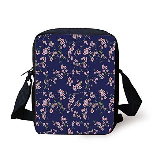 Navy and Blush,Blossoming Sakura Cherry Branches Chinese Asian Kimono Pattern,Violet Blue Green Pink Print Kids Crossbody Messenger Bag Purse