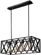 Vintage Chandelier, Metal Cage 4 Pendant Lights, Black Industrial Lighting Ceiling Lamp