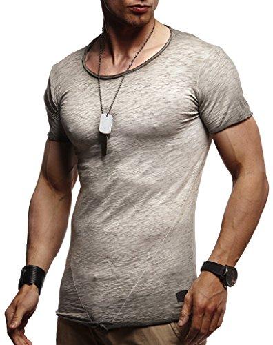 Leif Nelson Herren Oversize T-Shirt Rundhals Basic Shirt LN6281; Größe M, Anthrazit-Verwaschen