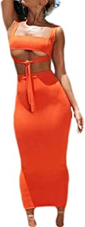 BLTR Mujeres Tank Top 2 Pieza Trajes Color Solido Crop Top Falda Bodycon