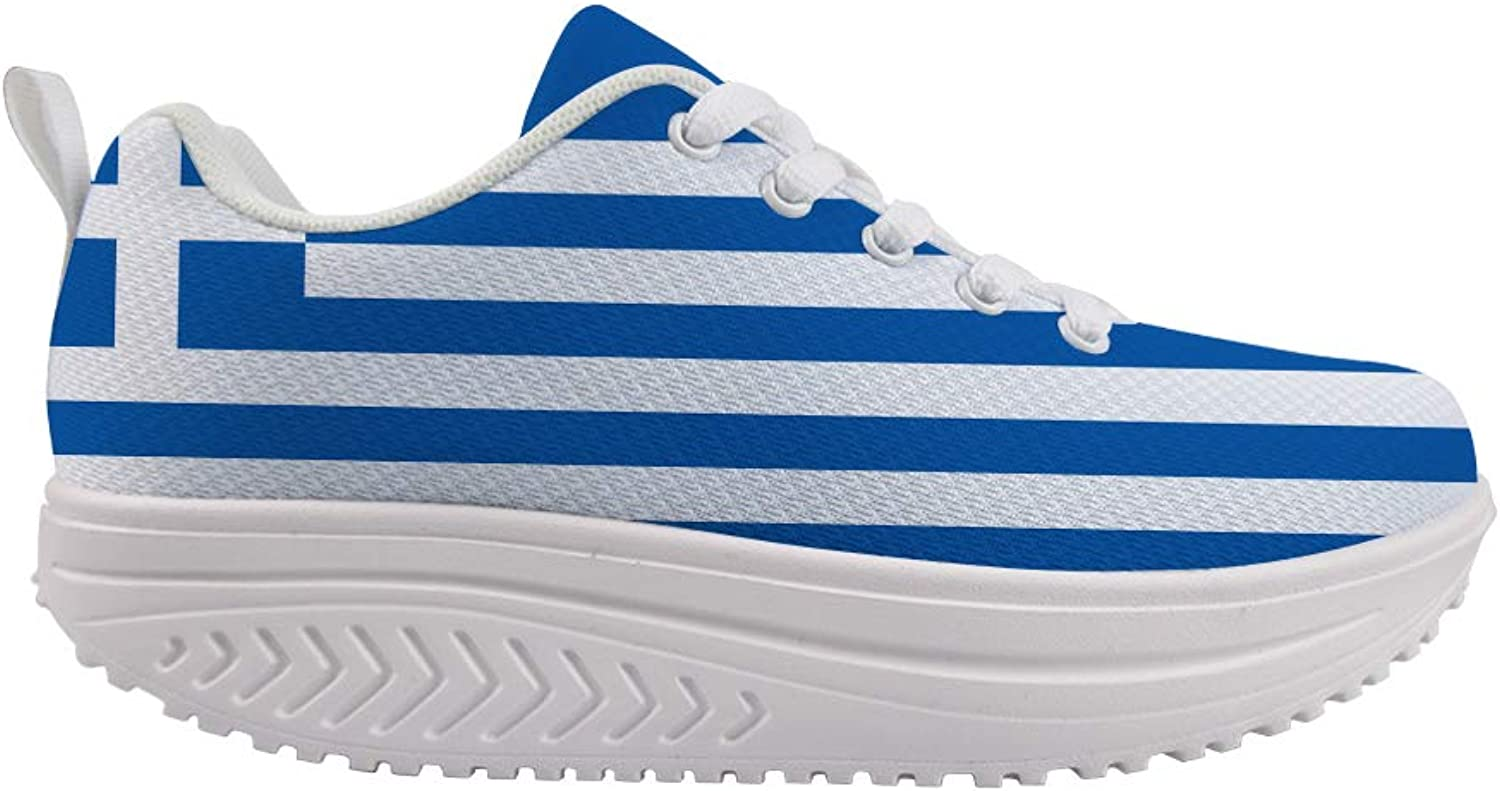 Owaheson Swing Platform Toning Fitness Casual Walking shoes Wedge Sneaker Women Greek Flag