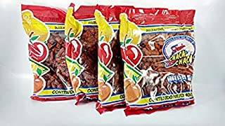 Chacatrozo Pack of 4 Chaca-Chaca Mexican Chili Candy 400 Grams Bags (Free Kinder Chocolate Included) Paquete de 4 Chaca-Chaca Dulce de frutas con sal y Chile Valentine's Day