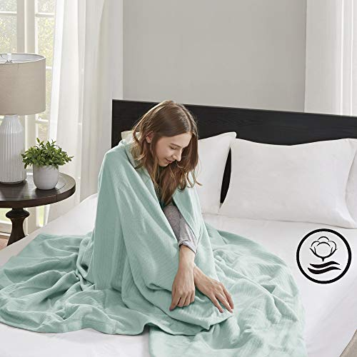 Madison Park Liquid Cotton Luxury Blanket Premium Soft Cozy 100% Ring Spun Cotton For Bed , Couch or Sofa, Full/Queen, Sea Foam