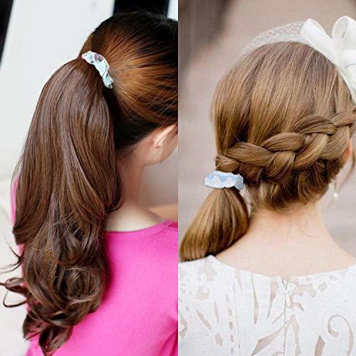 Hair Scrunchies Velvet Silk Chiffron Flower Hair Scrunchies for Women or Girls Hair Accessories |30Velvet Hair Scrunchies+20Satin Hair Scrunchies+16 Chiffron Flower Scrunchies 3