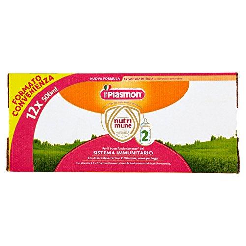 Plasmon Latte Liquido Nutri Mune 2 - 12 Confezioni da 500 ml