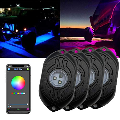 4 Pods RGB Led Rock Lights Multicolor Neon Underglow Lights Kit with App Remote Control Music Mode Waterproof for Trucks Jeep Offroad Car ATV SUV