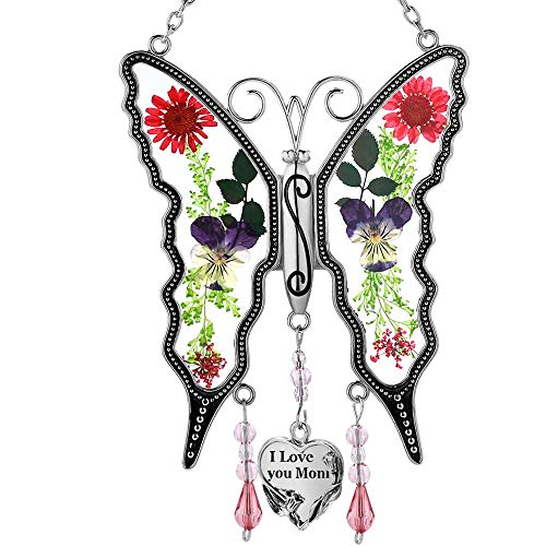 KY&BOSAM I Love You Mom New Butterfly Sun-Catchers Gifts for Mother, Pressed Flower Between Wings Glass for Window, Silver Metal Engraved Charm, as Mother's Valentine's Day Day Mom Birthday Gifts