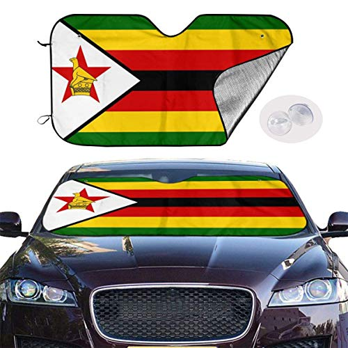 JKOVE Parasol Protector Solar para la Parabrisa Delantera del Coche Zimbabwe Flag Auto Shield Cover Sun Shade for Windshield UV Sun and Heat Reflector
