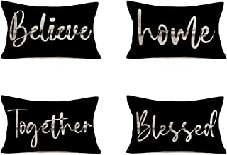 YANGYULU 4Pack Home Decor Inspirational Believe Home Together Blessed Letters Words Waist Lumbar Black Cotton Linen Throw ...