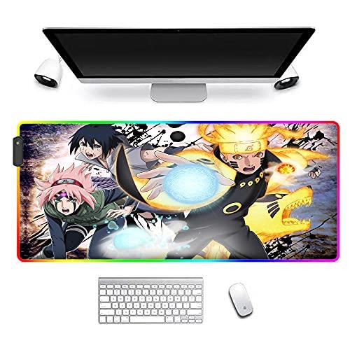 Alfombrilla De Ratón RGB para Juegos XXL Retroiluminación Led Anime Naruto 14 Modos De Iluminación para Computadora Pc 1000X500X4Mm