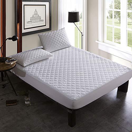 ABUKJM Qulited - Funda de colchón impermeable, transpirable, antiácaros, impermeable, para colchón, tamaño Queen con elástico (blanco, 180 x 200 x 45 cm)