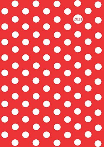2021: dicker TageBuch Kalender - DIN A4 - Pünktchen Dot Punkt … weiß auf rot - 1 Tag = 1 DIN A4 Seite