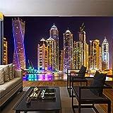 Zybnb Custom 3D Photo Wallpaper Dubai Night View City Building Wall Mural Papeles De Pared Decoración Para El Hogar Sala De Estar De Fondo Pintura Mural-120X100Cm