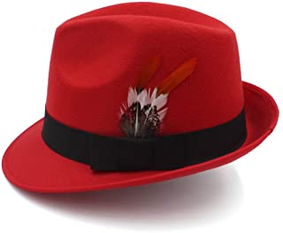 2019 Mens Womens Hats England Fedora Hat, Feather Black Gentleman Hat,Wedding Hat, Bride Groom Hat, Retro Jazz Hat for Men and Women (Color : Red, Size : 56-58cm)