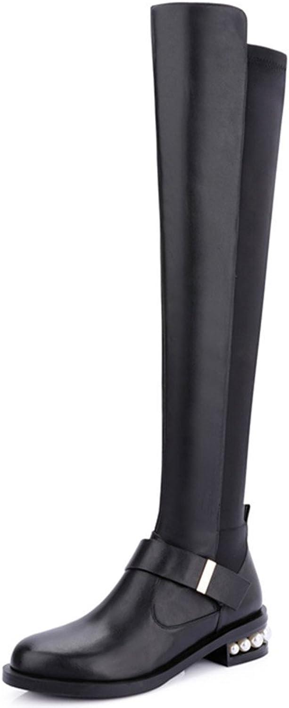 Nine Seven Genuine Leather Women's Round Toe Exquisite Heel Pearls Zip Over The Knee Handmade Boot