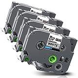 Xemax kompatibel Etikettenband Ersatz für Brother P-Touch Tze-241 TZ-241 Laminiert Kassette Bänder für PT-D400 PT-D450 PT-D600 PT-2730 PT-P700 PT-P750W PT-P900W, Schwarz auf weiß, 18mm x 8m, 4er-Pack