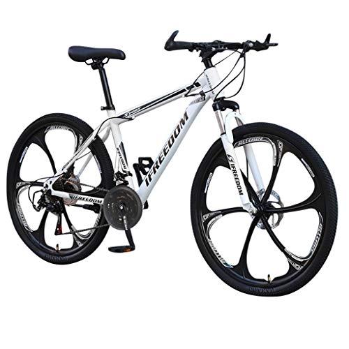 Mountainbikes 26 Zoll MTB Kohlenstoffreicher Stahl Strong 26 Zoll Fully Doppelscheibenbremse Country Gearshift Fahrrad 6 Cutter 24-Gang Rennrad Fahrrad Vollfederung MTB (Weiß)