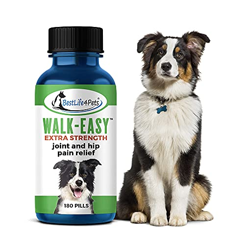 Walk-Easy Extra Strength Dog Joint Supplement – Natural Arthritis Pain Relief and Anti Inflammatory – Great for Large and Small Breeds - Easy to Use  no Taste or Smell (180 Pills) (1 Pack)