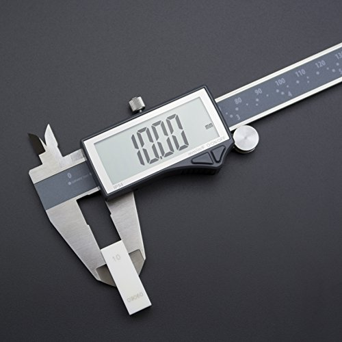 Clockwise Tools DCLR-0605 Electronic Digital Caliper Inch/Metric/Fractions Conversion IP54 Protection 0-6 Inch/150 mm Stainless Steel Body Super Large LCD Screen Auto Off Featured Measuring Tool