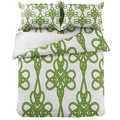 4 Pieces Duvet Cover Sheet Set Irish Celtic Knots Clovers Bedding Sets Queen Luxury Soft Bed Quilt Cover Bedspread with Decorative Pillowcases St. Patrick's Day