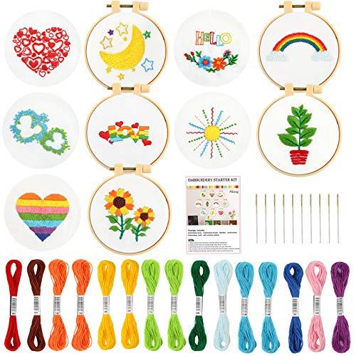 Pllieay 10 kits de bordado para principiantes para niños de 7 a 13, incluye instrucciones, kit de bordado para principiantes con patrón, kits de punto de aguja para proyectos de bordado