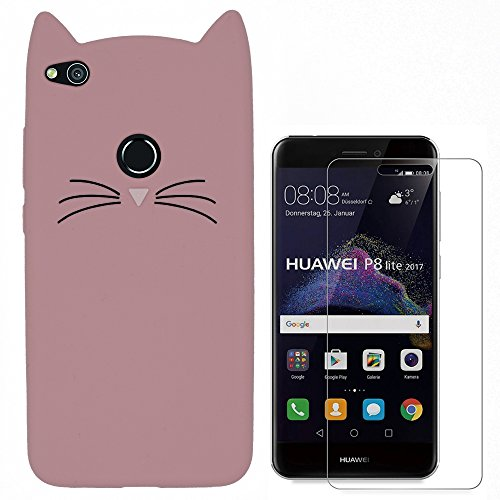 Hcheg 3D Silicone Protective Case Cover for Huawei P8 lite 2017 Cover cat Design pink Case Cover + 1X Screen Protector