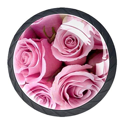 Best Pink Rose - Juego de 4 pomos de cocina de cristal ABS para armario, tiradores redondos para cajones y aparadores, color rosa