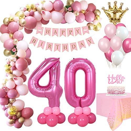 MMTX Rosa retrò Compleanno Decorazioni 40 Anni Donna, Festone Buon Compleanno, Foil Elio Palloncini Numeri 40, Addobbi Compleanno Anniversario Ragazza con Tovaglia Konfetti Palloncini in Lattice