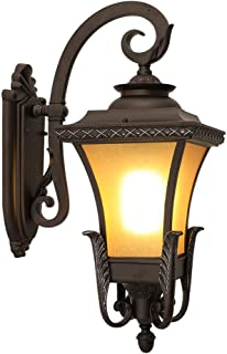 Belief Rebirth Traditional Victorian Exterior Exterior Garden Light - Outdoor Wall Lantern with Brown Glass - Indoor 1 Light Sconce for Corridor, Porch, Patio Outside Wall Landscape Light