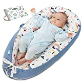 ANRRO Baby Lounger Baby Nest with 2 Covers, Co-Sleeping Baby Bassinet Ultra Soft & Breathable Portable Infant Bassinet for Newborn Baby of 0-18 Months(Rainbows Pattern&Leafs Pattern)