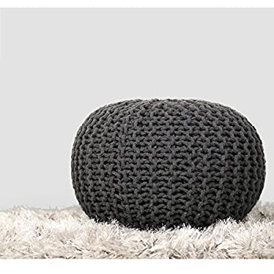 RAJRANG BRINGING RAJASTHAN TO YOU Hand Knit Pure Cotton Stuffed Pouf Large - 23 x 16 Inches - Braid Cord Stitched Large Round Ottoman Foot Home Decorative Perfect Patio Seating - Charcoal Grey