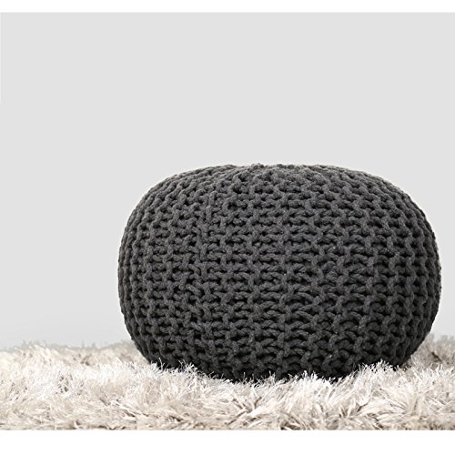 RAJRANG BRINGING RAJASTHAN TO YOU Hand Knit Pure Cotton Stuffed Pouf - 20 x 14 Inches - Charcoal...