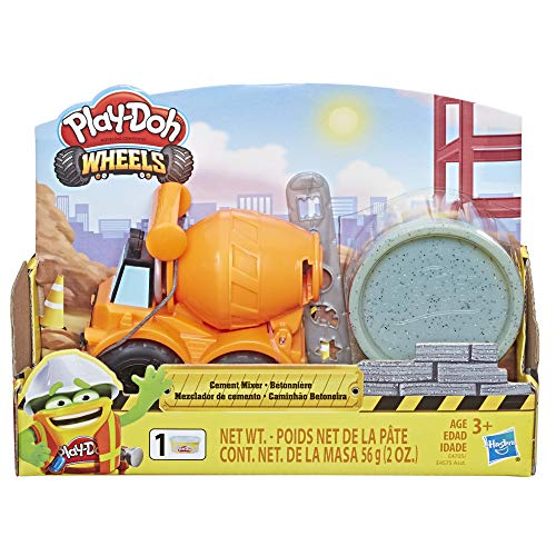 Play-Doh Wheels Mini Cement Truck Toy with 1 Can of Non-Toxic Cement Colored Buildin' Compound