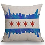 SSOIU Chicago State Flag Watercolor City Skyline Farmhouse Decorative Throw Pillow Covers for Sofa Couch Home Decoration 18x18 inches