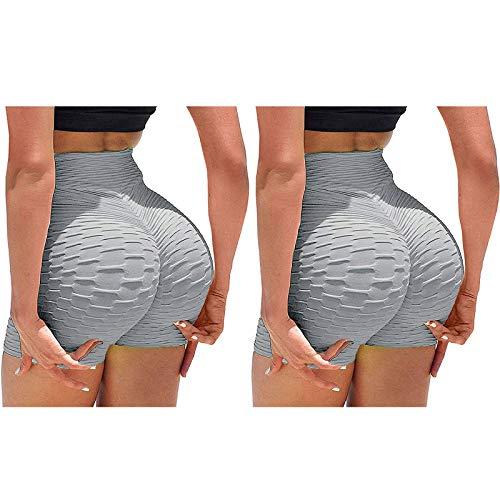 N\A 2Pc rutschfeste Leggings Cellulite Fitness Leggings Radlerhose MäDchen Shorts Yoga Hosen Leggings FüR Frauen High Waisted Butt Lifting Leggings Short