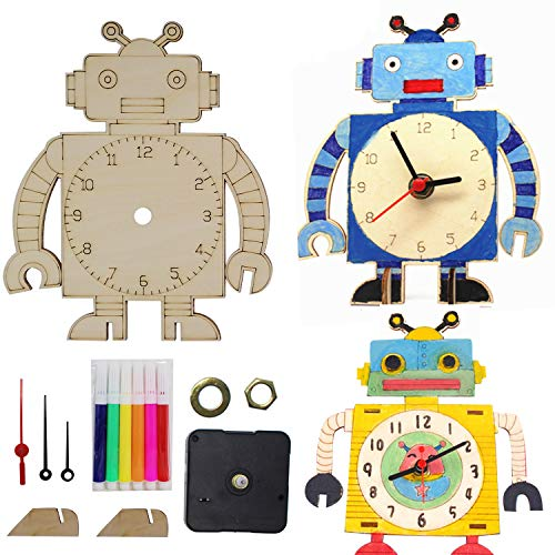 ILMU Learning Clock DIY Painting Robot Clock Making Kit Wooden Toys Educational Gift Homeschool Supplies Teaching with 6 Colors Painting Pens,for Kids & Teens, Girls & Boys