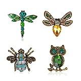 nobrand 4 Piezas Conjunto de Broche de Mujer Broches de Animales, Broches de Esmalte Insecto Animal Pin de Aleación de Abeja Búho libélula Joyas Vintage, Accesorios de Bufanda Vestir para Mujer