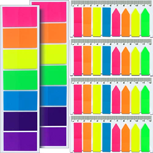 FANDAMEI 920 Pcs Neon Index Stickers - 280 Pcs Large Square Index Tabs + 640 pcs Rectangle and Arrow Sticky Notes Flags, PET Highlight Peel and Stick Flags for Marker Notes Coloured Book Tabs Labels