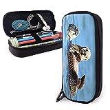 Marsupio Sea Otter Pup BabyLeather Astuccio per astuccio con doppia scatola con cerniera per ufficio scolastico