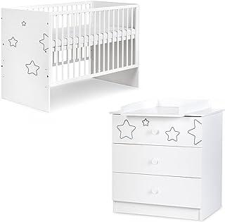 TINO Ensemble lit bébé + commode à langer motifs étoiles Blanc 120x60 cm