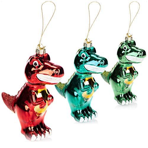 com-four® 3X Hochwertiger Christbaumschmuck - Große Dinos aus echtem Glas für die Weihnachtsdeko - Weihnachtsbaum Anhänger (Dino - 3 Stück)